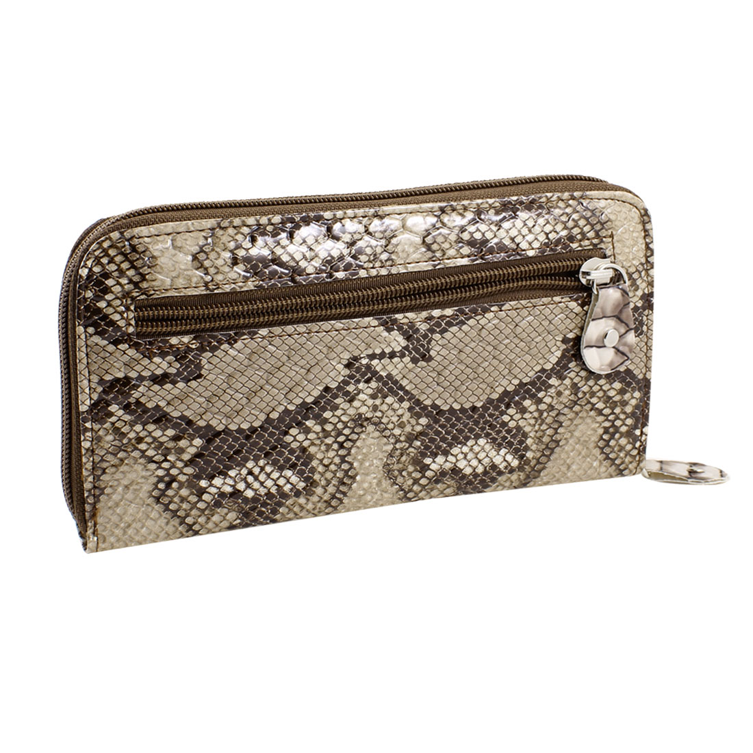 Gray Dark Brown Rose Pattern Rectangle Zipper Closure Purse Wallet for Woman