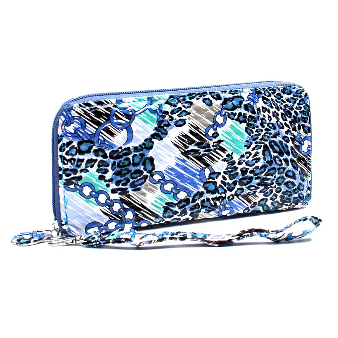 Laides Yale Blue Leopard Pattern 4 Compartments Zipper Closure Handbag Purse