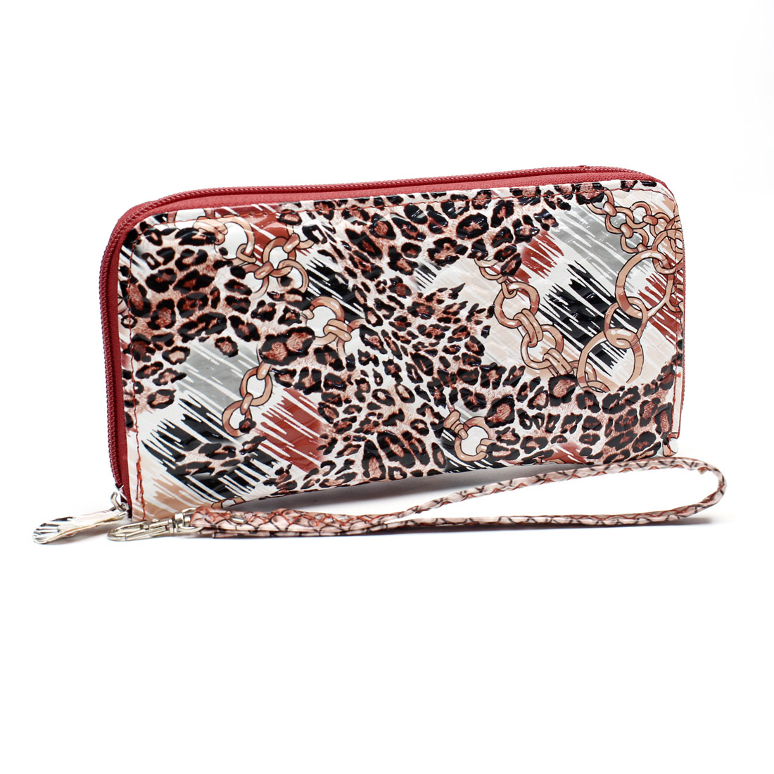 Carmine Leopard Bracelet Printed Zippered Wrist Purse Bag w Strap for Woman