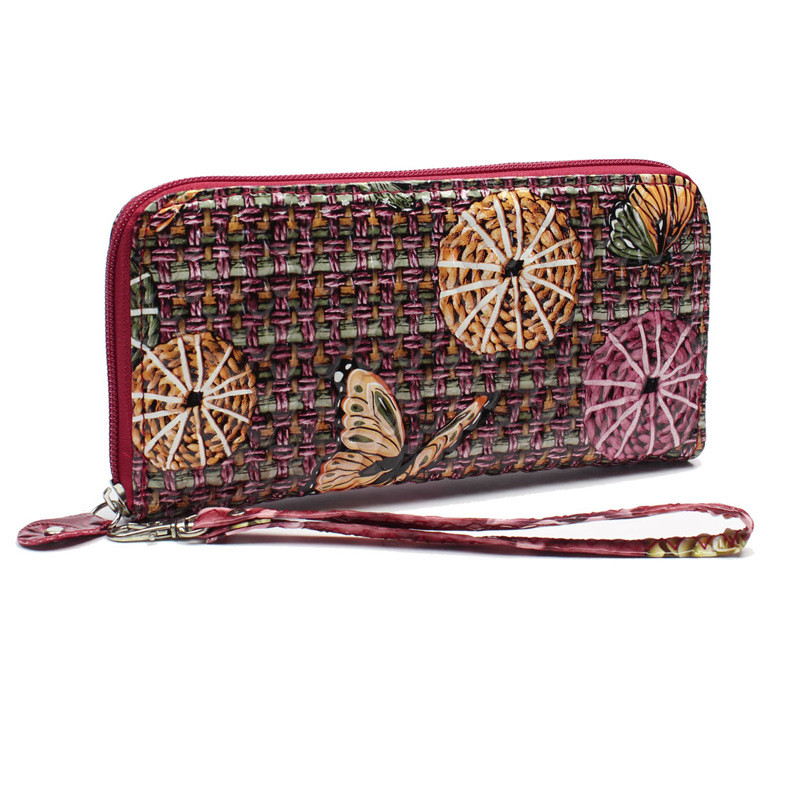 Dark Pink Orange Circle Butterfly Pattern Wallet Purse for Woman