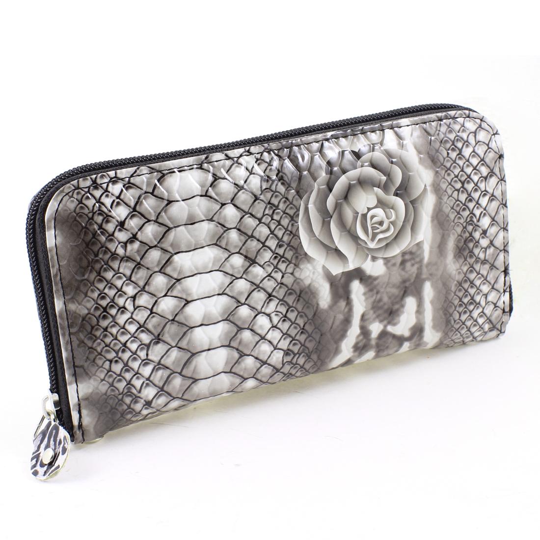 Dark Brown Gray 4 Compartments Zipper Closure Handbag Purse