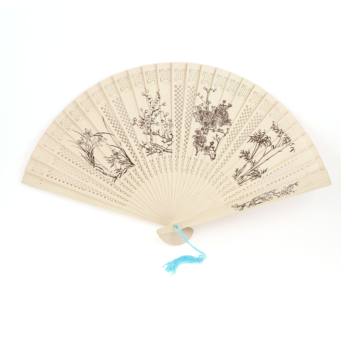 Sandalwood Wintersweet Bamboo Orchid Mum Pattern Cut Out Folding Hand Fan