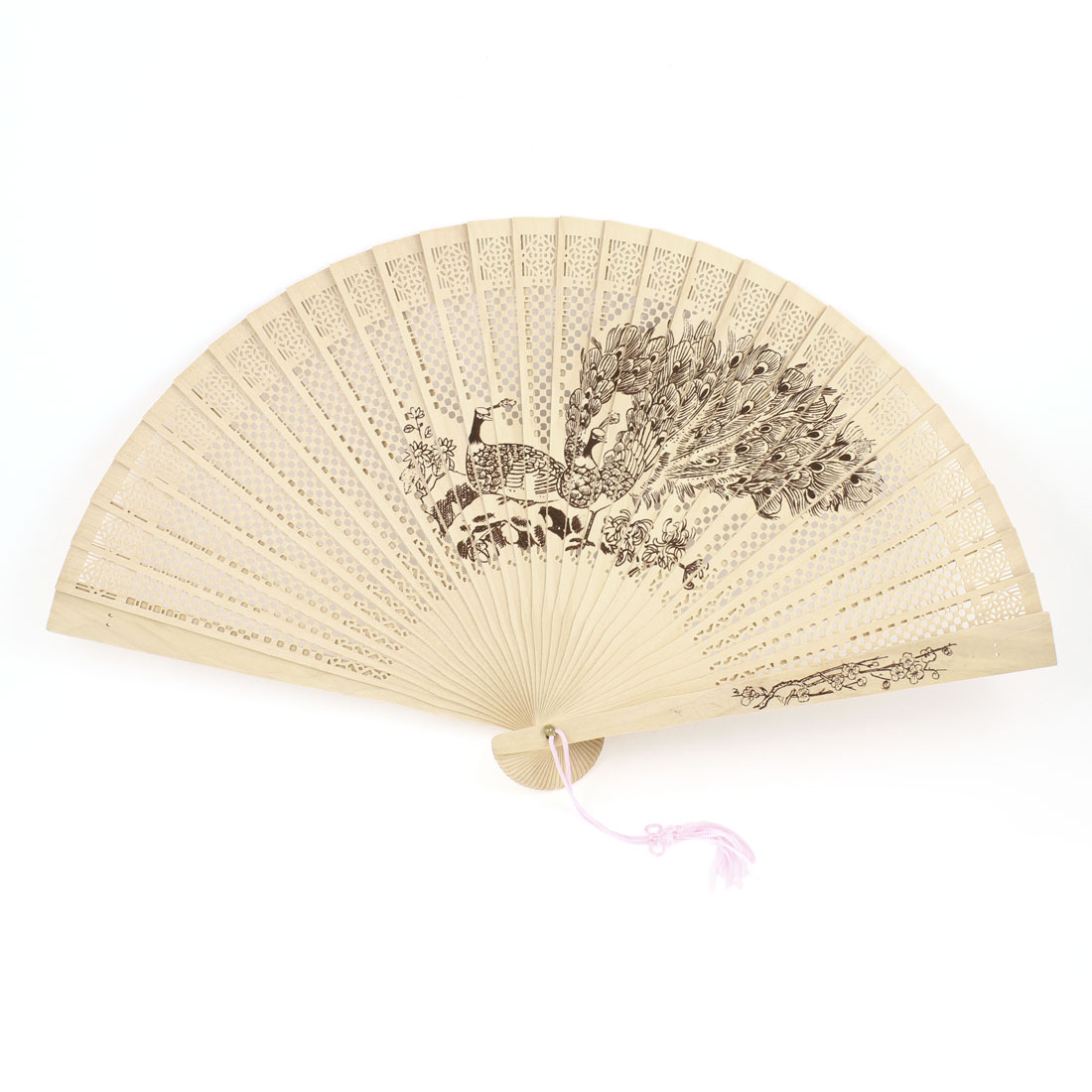 Peacock Wintersweet Pattern Cut Out Foldup Sandalwood Hand Fan