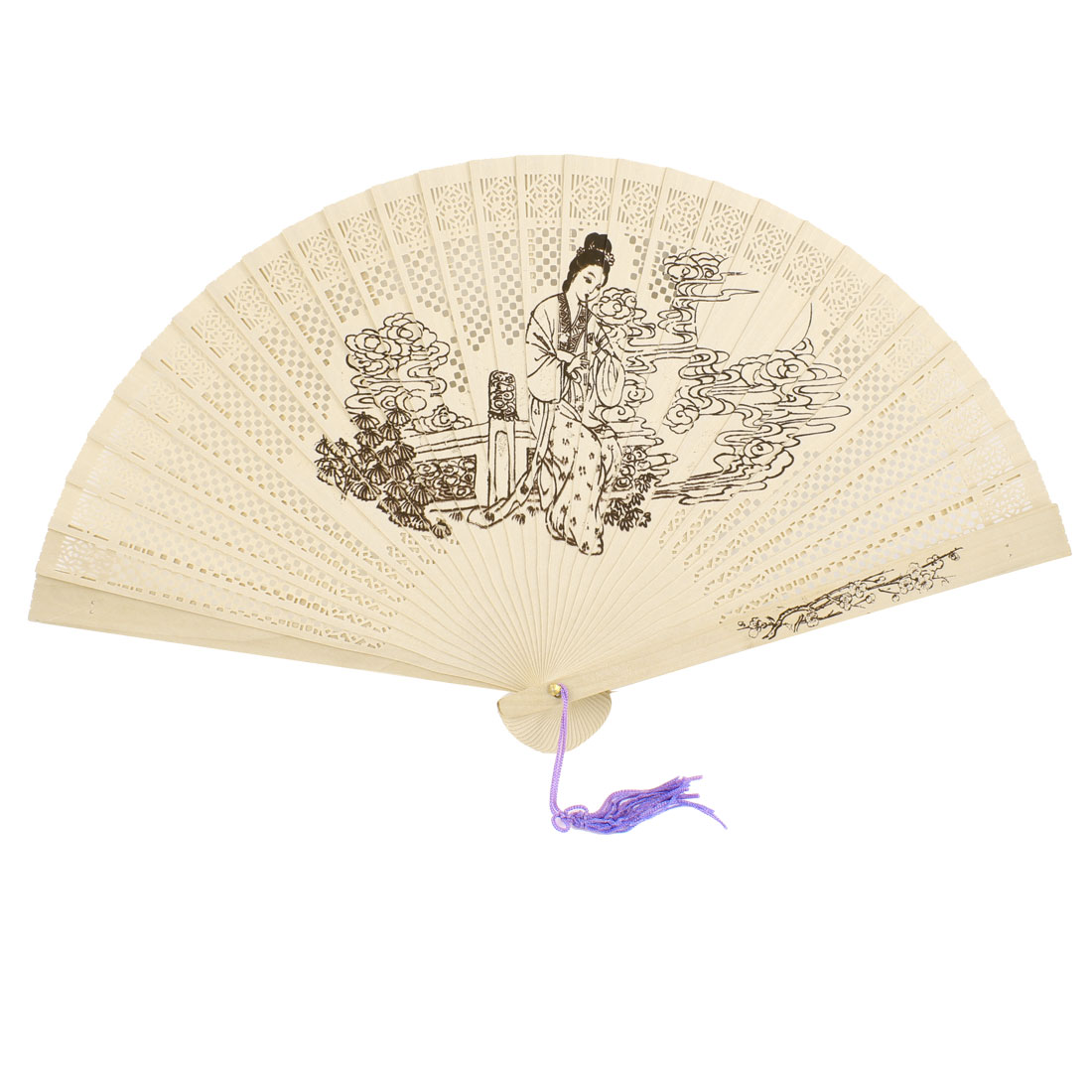 Sandalwood Ancient Chinese Girl Printed Hollow Out Foldable Scented Hand Fan