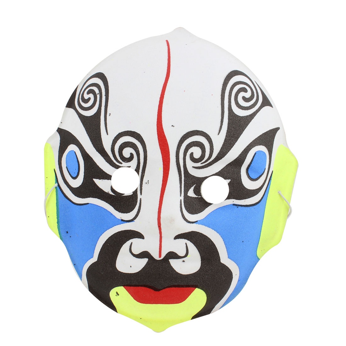 Blue Face Black Yellow White Plastic Chinese Peking Opera Facial Mask