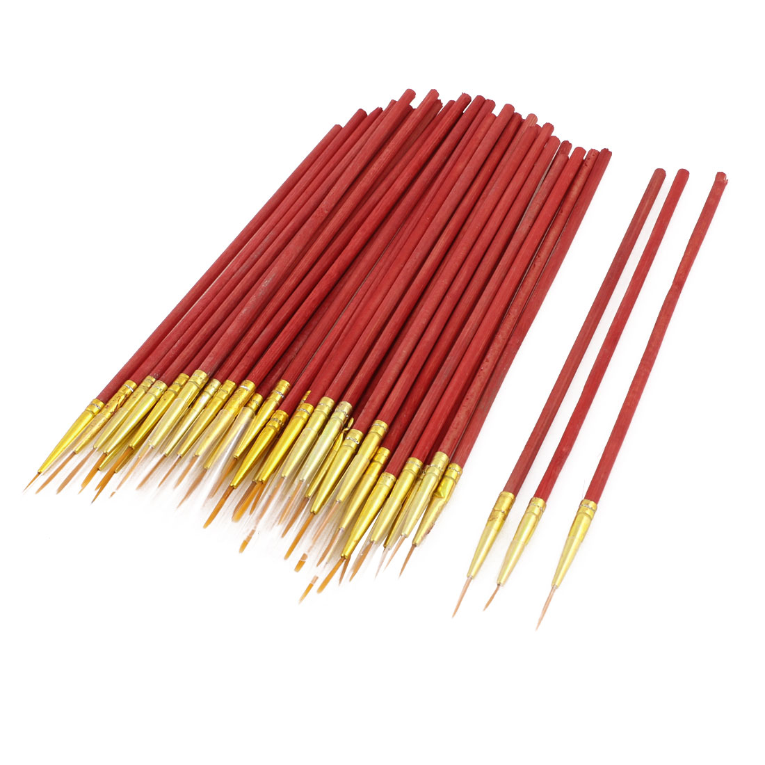 Red Wooden Shaft Small Size Watercolor Drawing Painting Brush 50pcs