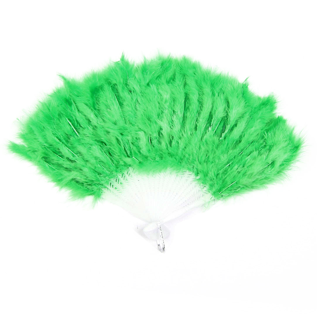 Folding White Plastic Frame Green Feather Dancing Hand Fan w Ring