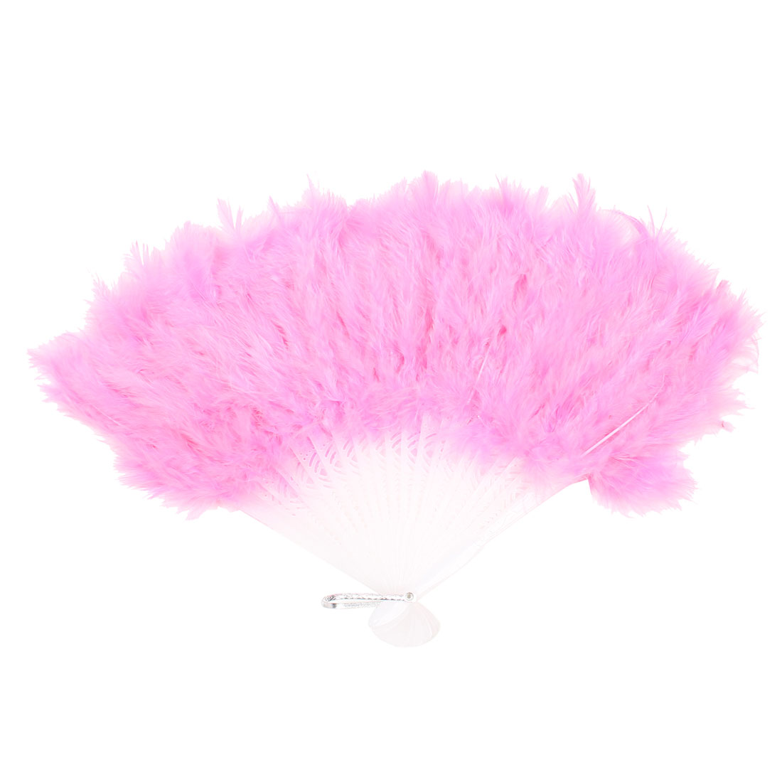 Pink Soft Feather Plastic Dancing Foldable Hand Fan w Metal Hanger