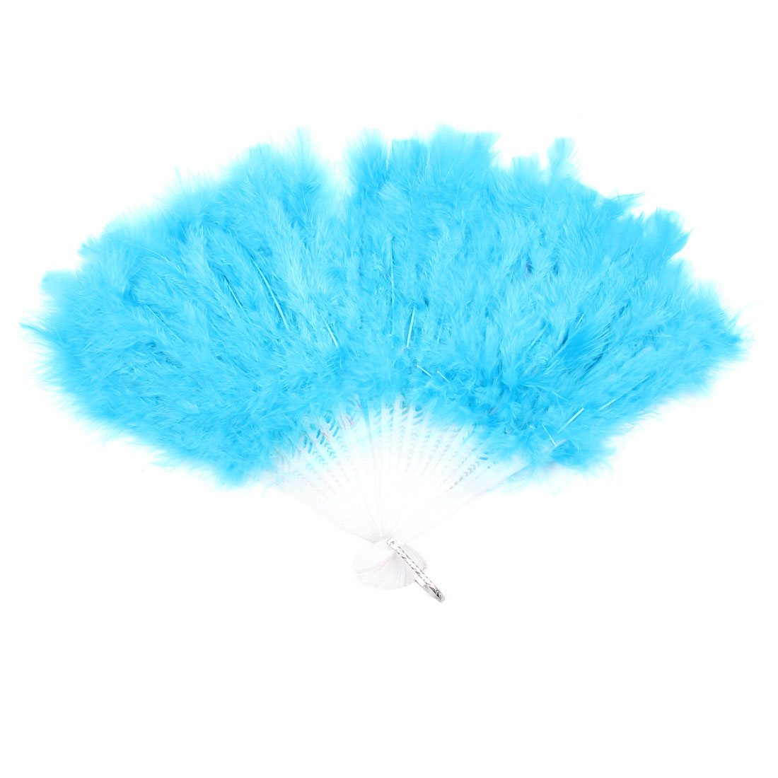 Folding White Hollow Plastic Cyan Blue Feather Dancing Hand Fan