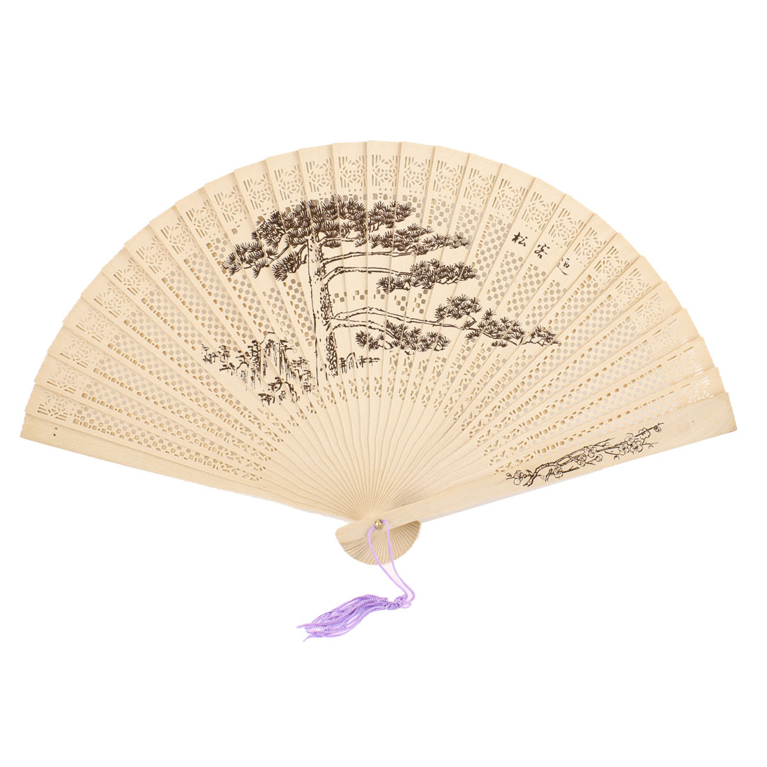 Purple Tassels Greeting Pine Print Scented Fragrant Sandalwood Foldup Hand Fan