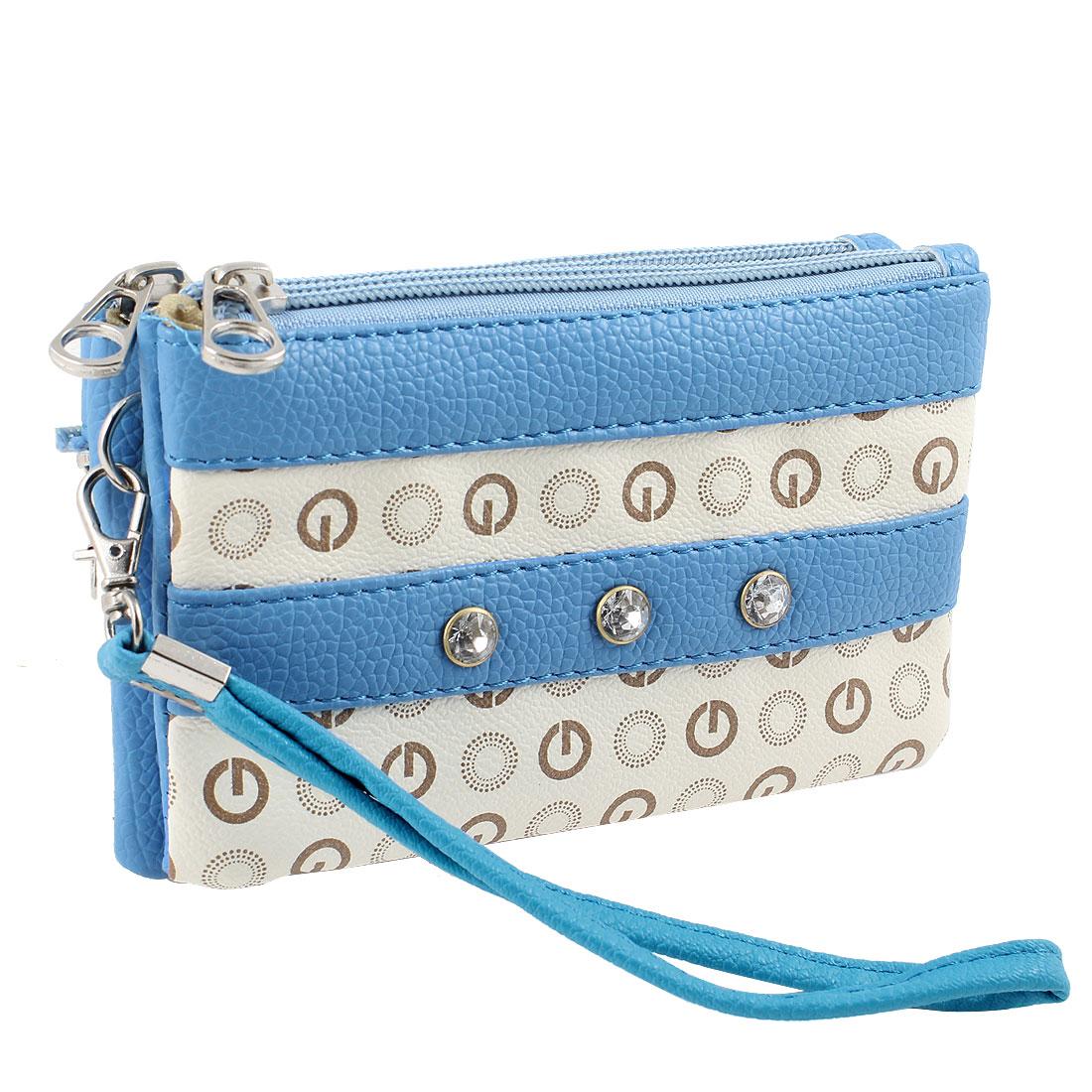 Ladies Women Letters Pattern 3 Compartments Zip Up Handbag Purse Blue Beige