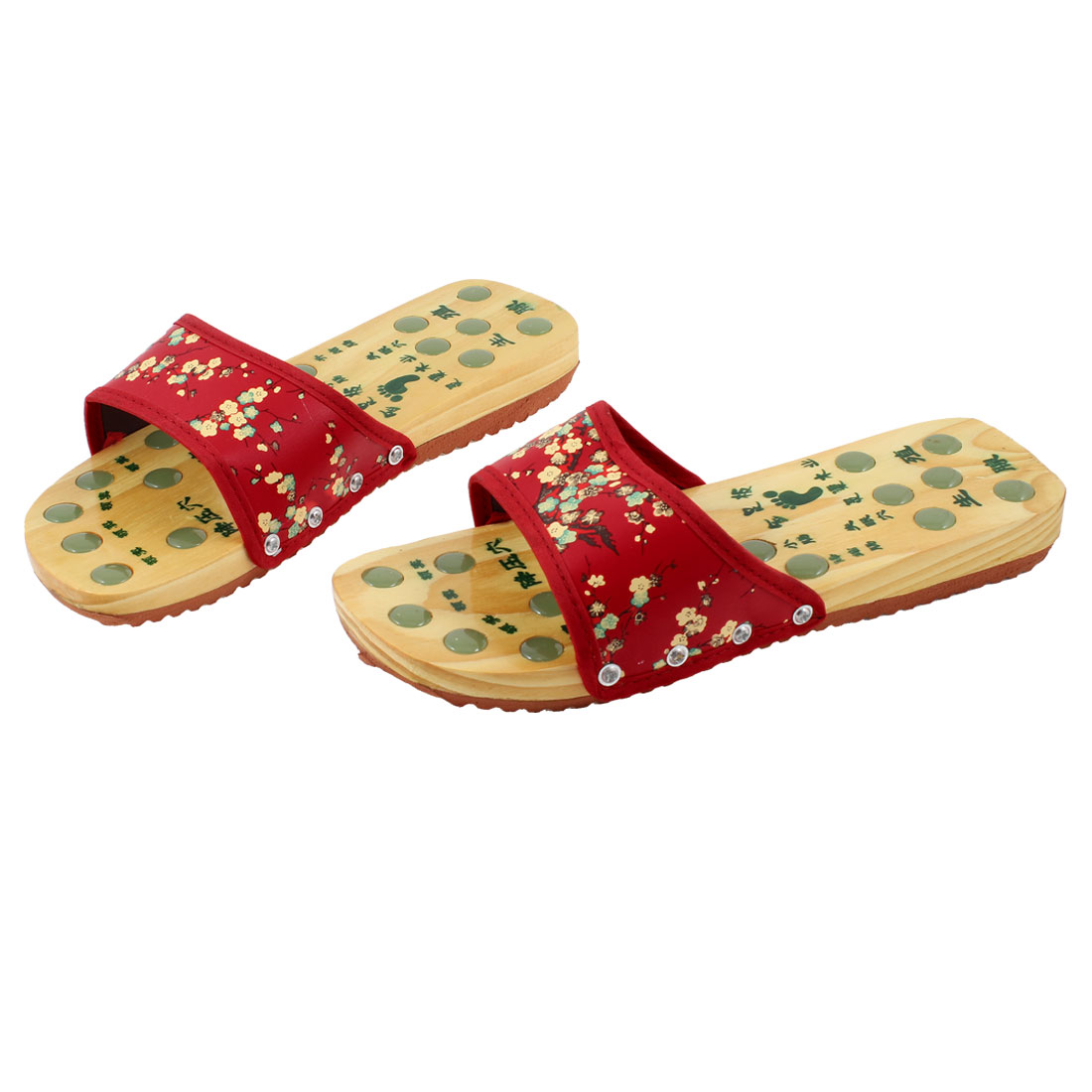 Lady Wintersweet Pattern Wooden Healthy Foot Massage Clogs Slippers Red