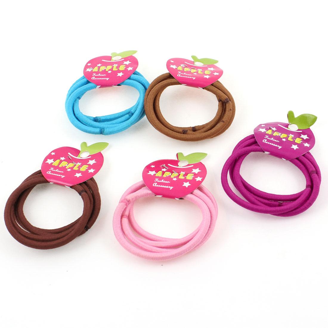 Lady Women Nylon Wrapped Elastic Rubber Ponytail Holder Bands Colorful 20 Pcs