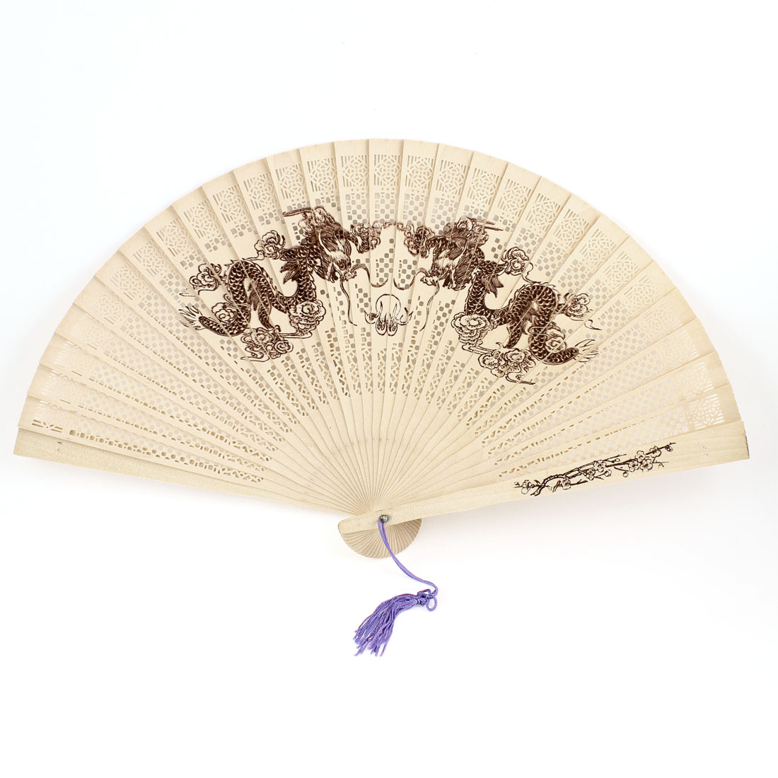 Dragons Print Purple Tassel Fragrant Sandalwood Folding Wood Hand Fan