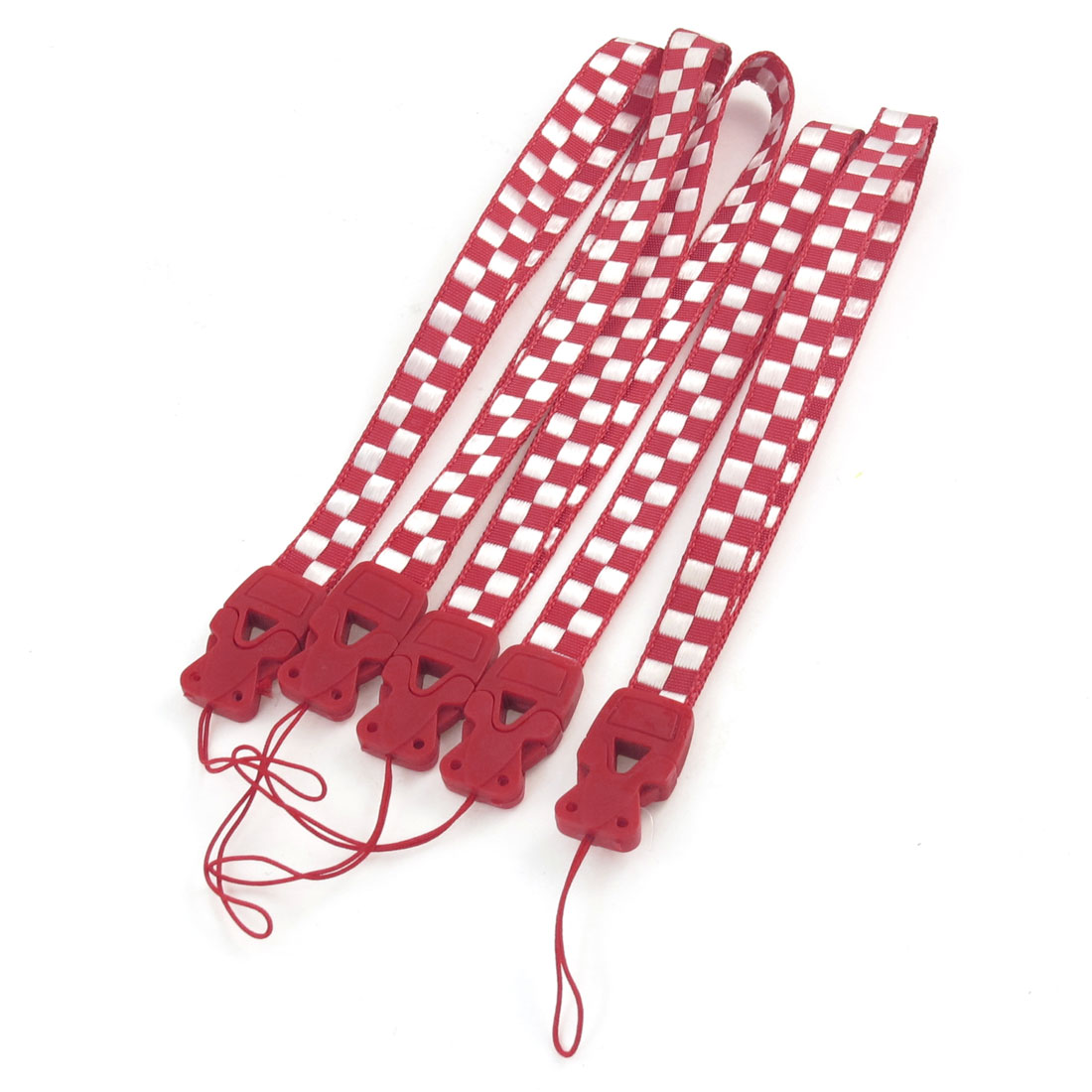 5 Pcs White Red Checkers Print Cell Phone Keys Holder Wrist Strap Lanyard
