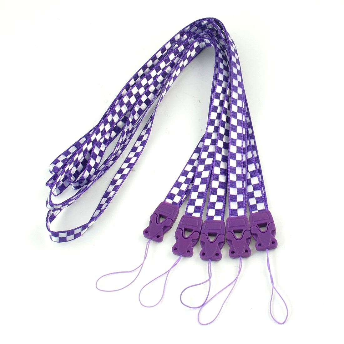 Purple White Check Print Cards Keys Keychain Neck Strap Lanyard String 5 Pcs