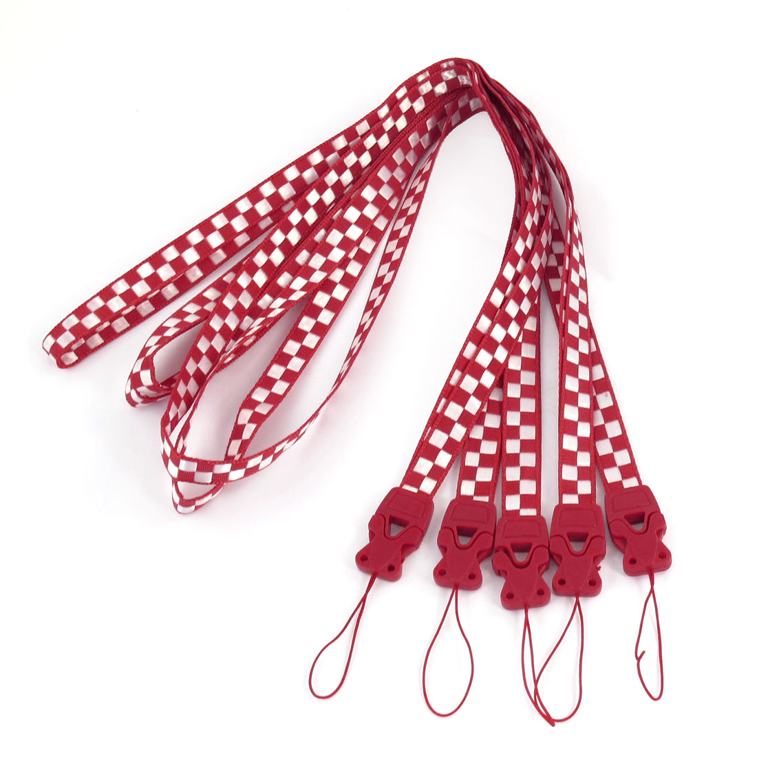 5 Pcs White Red Checkers Print Cell Phone Keys Holder Neck Strap Lanyard