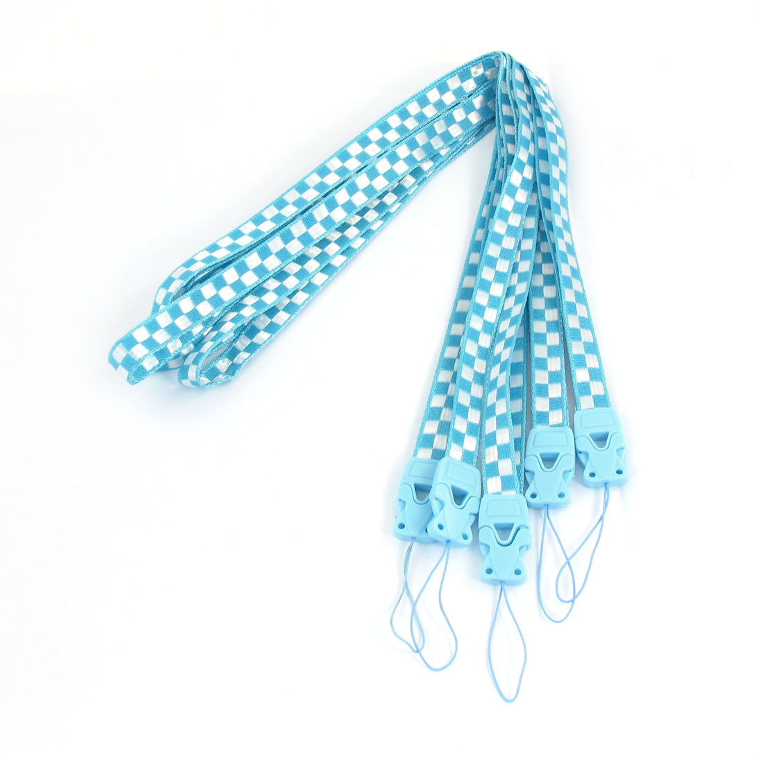 Light Blue White Check Print Cards Keys Mp3 Neck Strap Lanyard String 5 Pcs