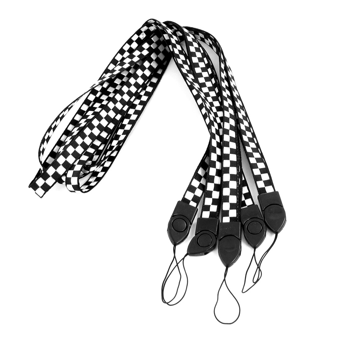Black White Check Print Cards Keys Keychain Neck Strap Lanyard String 5 Pcs