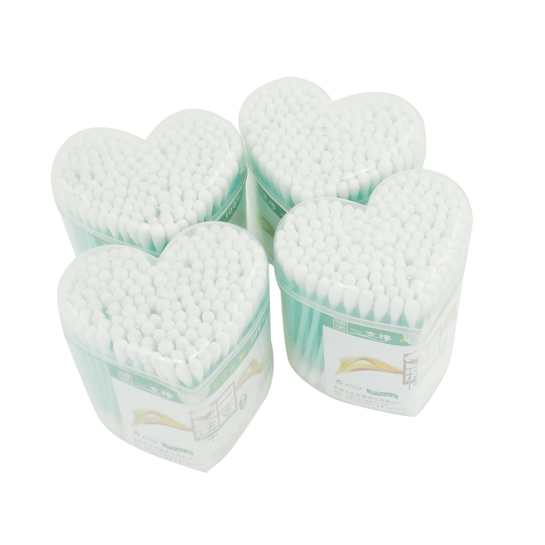 4 Packs Heart Shaped Box Double Ends Makeup Cotton Buds Swabs Swab Light Green