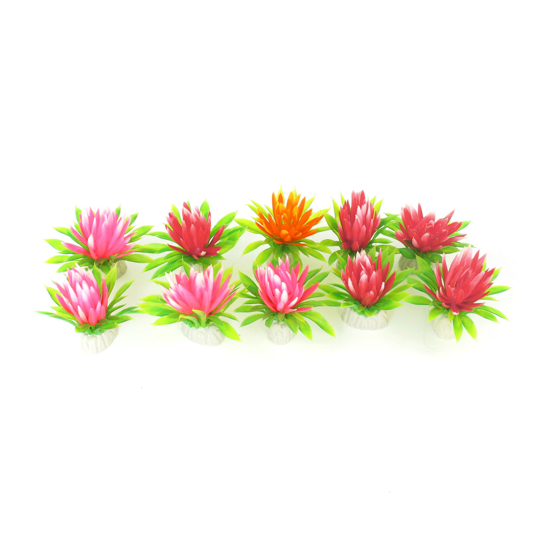 "10 Pcs 2.4"" High Red Orange Emulational Aquatic Fish Tank Plants Decoration"