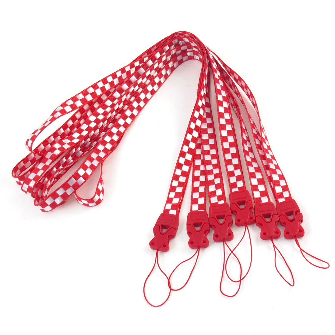Red White Check Print Cards Keys Keychain Neck Strap Lanyard String 6 Pcs