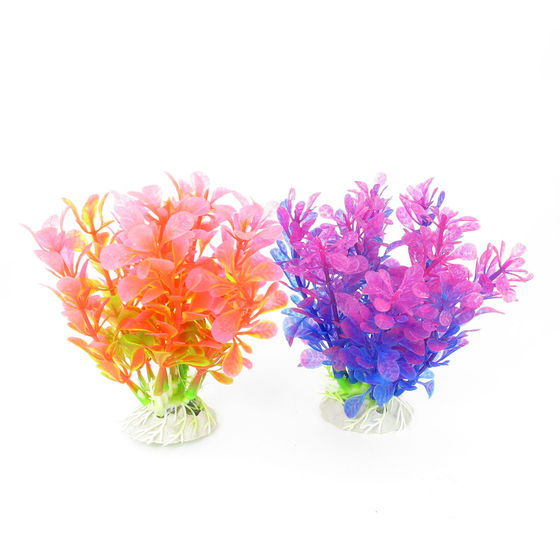 """2 Pcs Pink Violet Blue Emulational Fish Tank Aquarium Grasses Decor 4.3"""" High"""