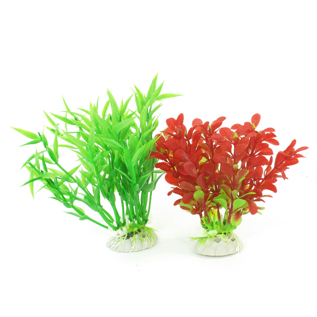 2 Pcs Red Green Emulational Fish Tank Aquarium Grasses Decoration