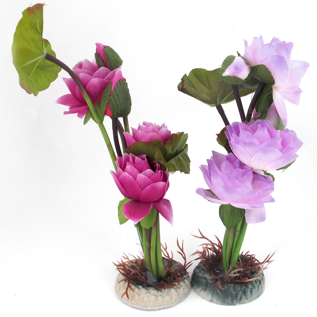 "9.1"" Height Fuchsia Pink Green Emulational Aquarium Fish Tank Plants Lotus 2PCS"