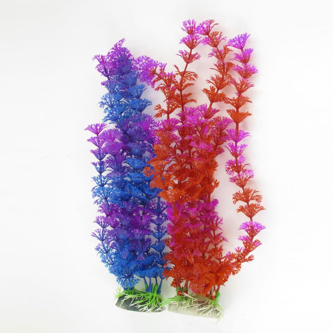 "2 Pcs Violet Red Blue Emulational Fish Tank Aquarium Grasses Decor 11.8"" High"