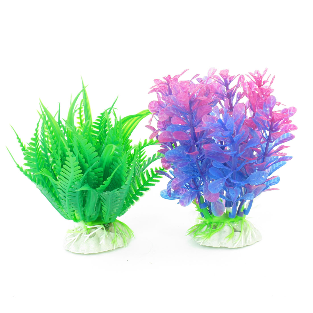 "2 Pcs Green Violet Blue Emulational Fish Tank Aquarium Grasses Decor 4.3"" High"