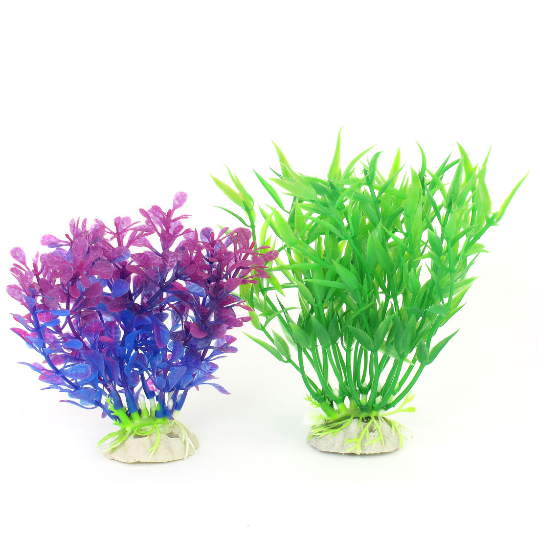 Green Fuchsia Blue Simulation Aquascaping Aquatic Underwater Plant 2 Pcs