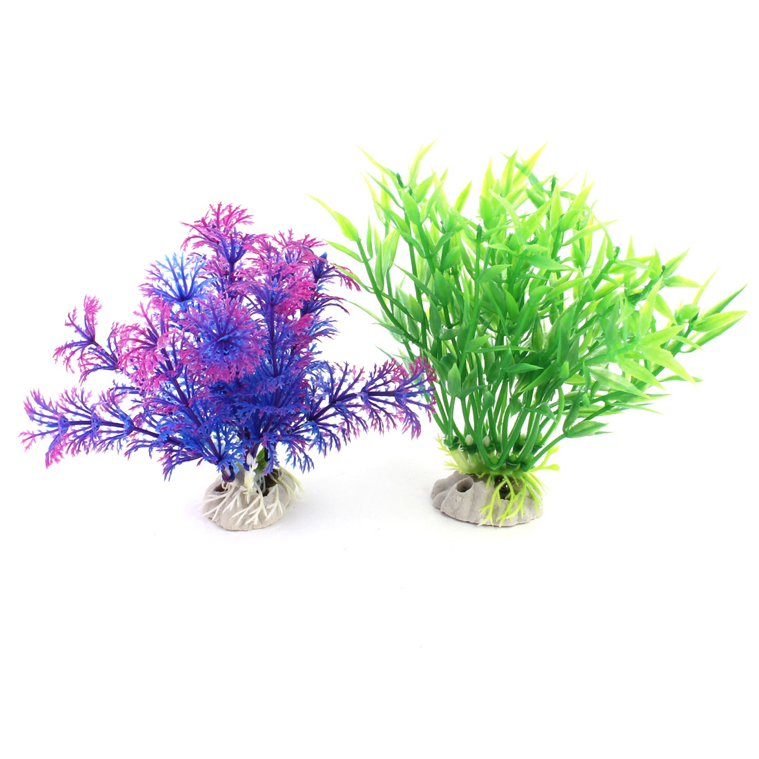 "2 Pcs 4.7"" Green Fuchsia Blue Artificial Fish Tank Plant Decor w Ceramic Base"