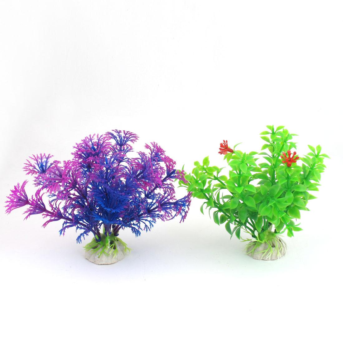 "2 Pcs 4.3"" High Green Fuchsia Blue Emulational Aquarium Fish Tank Plants Decor"