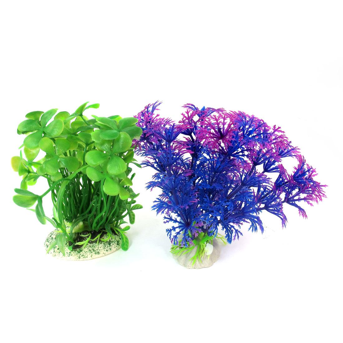"""2 Pcs Green Blue Emulational Fish Tank Aquarium Grasses Decor 4.1"""" High"""