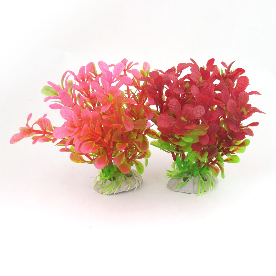 "2 Pcs 4.1"" High Red Pink Emulational Aquarium Fish Tank Plants Decoration"