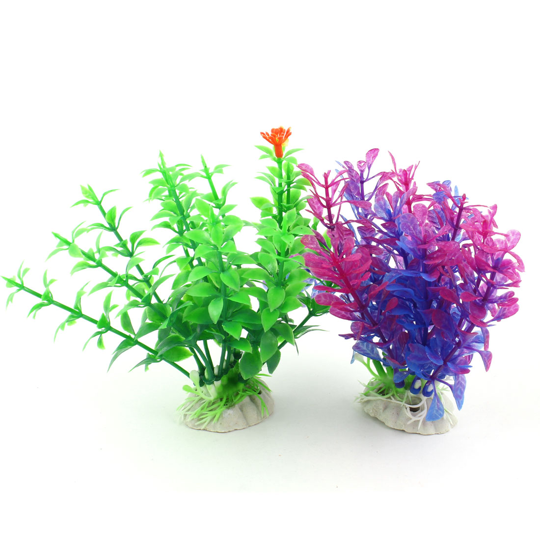Aquarium Decor Green Fuchsia Blue Simulation Underwater Plants Grass 2 Pcs