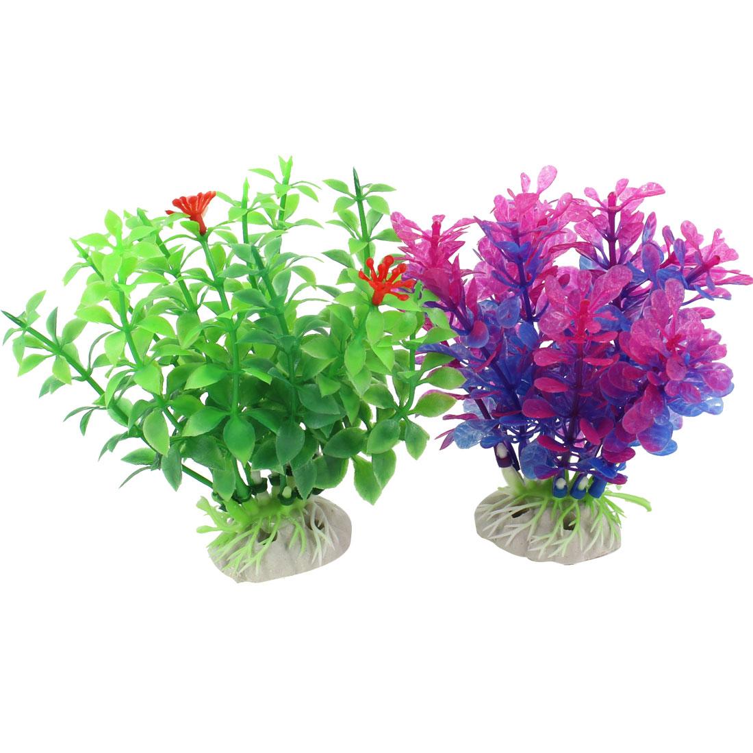 "2 Pcs 3.9"" Height Green Fuchsia Blue Artificial Fish Tank Aquarium Plants Grass"