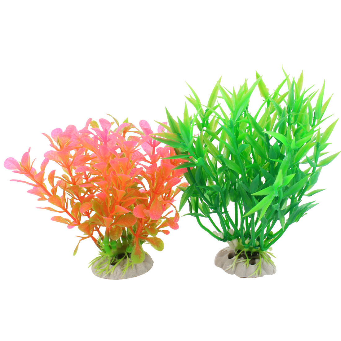 Aquarium Ornament Green Pink Artifical Underwater Plants Grass 2 Pcs
