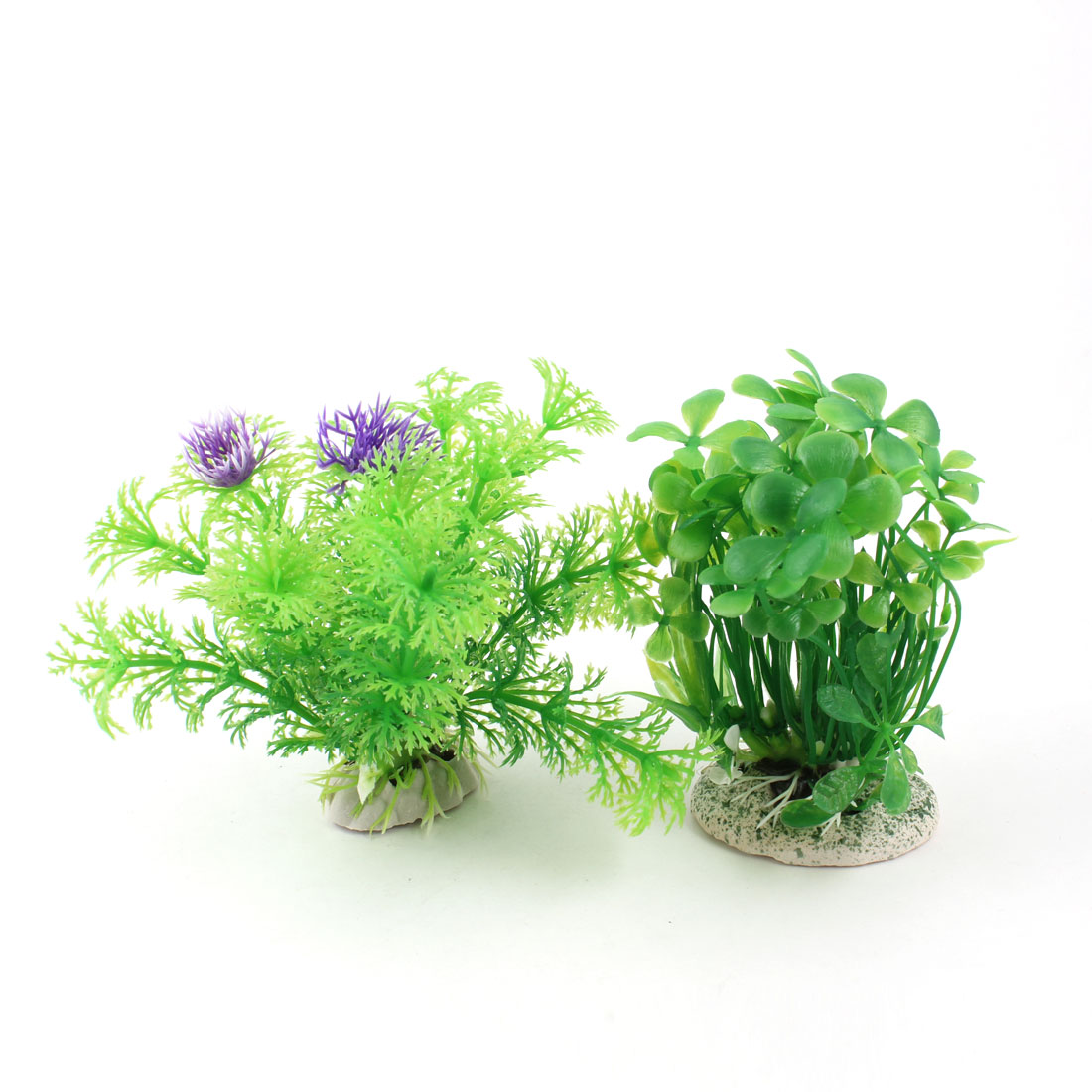 "2 Pcs 4.3"" High Green Artificial Fish Tank Aquarium Plants w Ceramic Base"