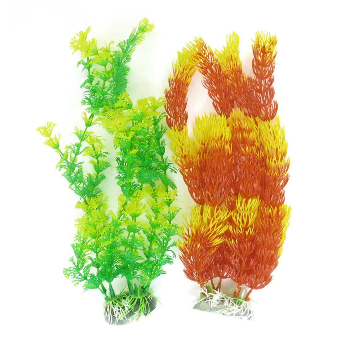 "2 Pcs Orange Red Yellow Emulational Fish Tank Aquarium Grass Decor 10.6""r 10.6"" High"