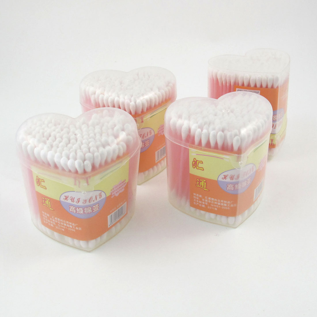 4 Packs Heart Shaped Box Double Heads Cosmetic Cotton Buds Swabs Light Pink