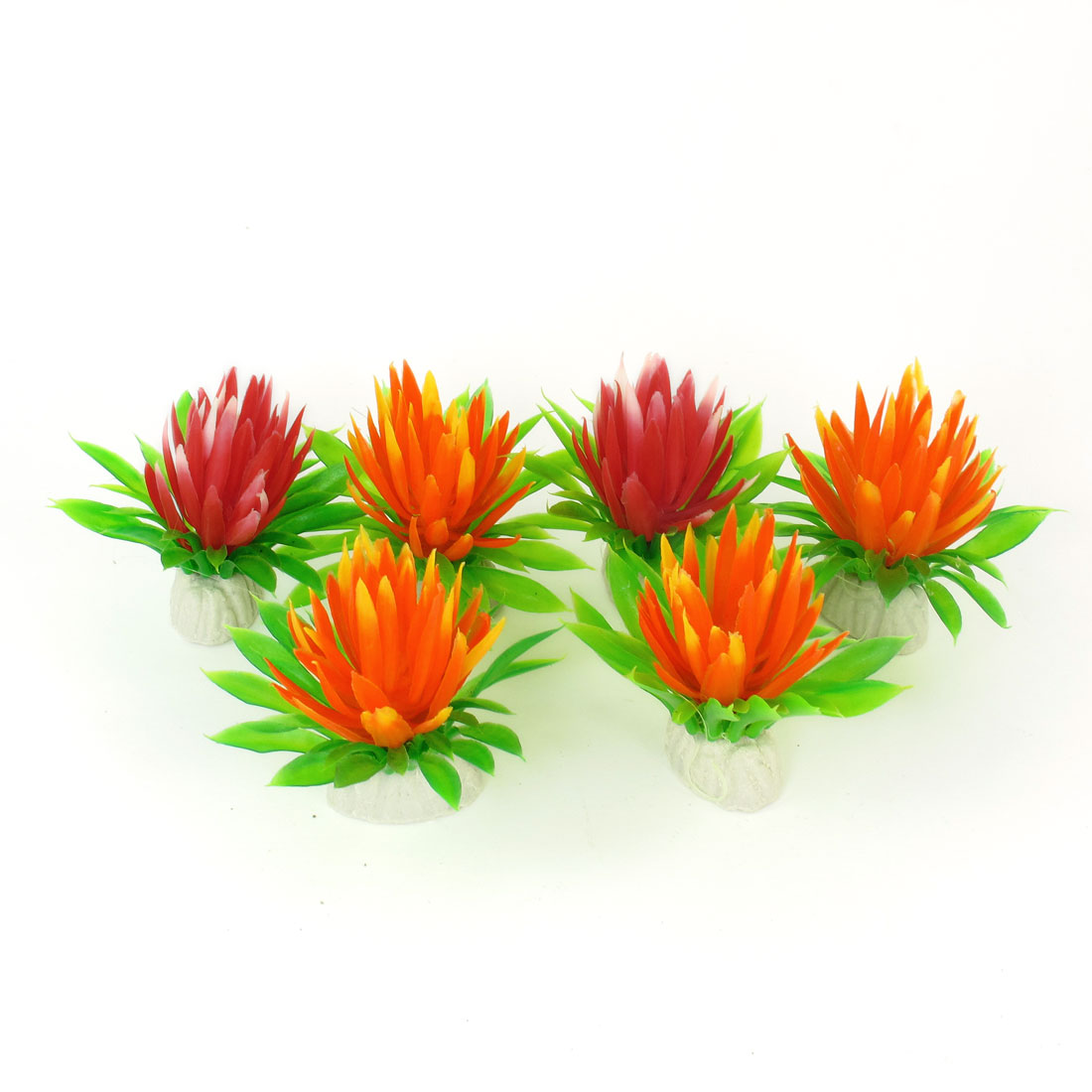 "2.2"" High Red Orange Green Simulation Aquarium Aquatic Underwater Plants 6 Pcs"