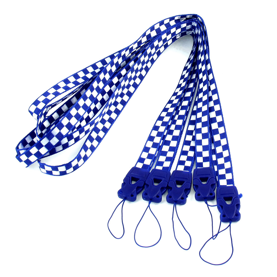 5 Pcs White Blue Checkers Print Cell Phone Keys Holder Neck Strap Lanyard