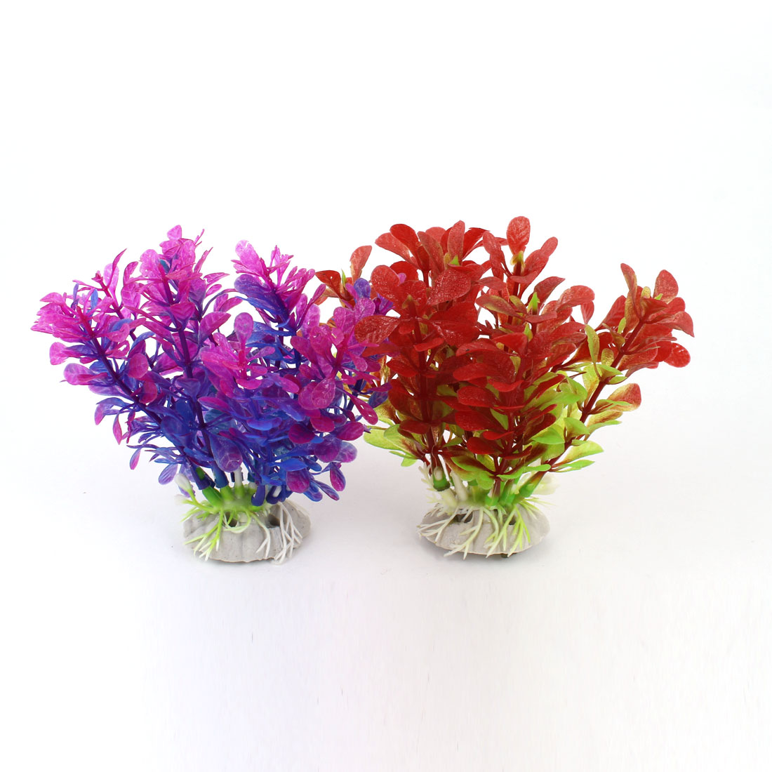 "2 Pcs 4.1"" High Artificial Fish Tank Aquarium Plants Red Fuchsia w Ceramic Base"