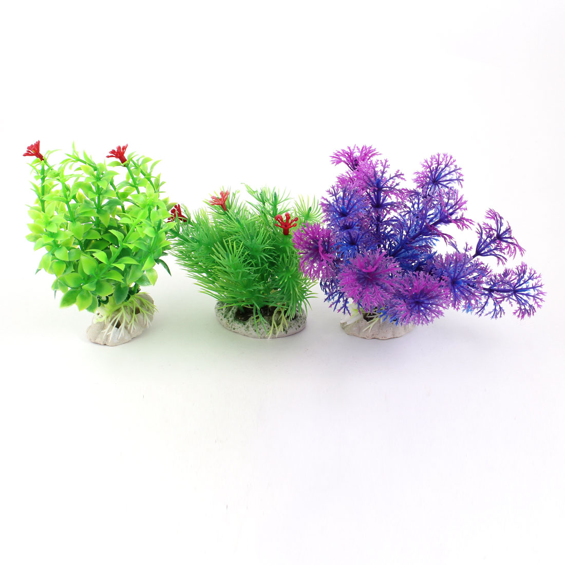 3 Pcs Green Fuchsia Blue Artificial Fish Tank Aquarium Plants w Ceramic Base