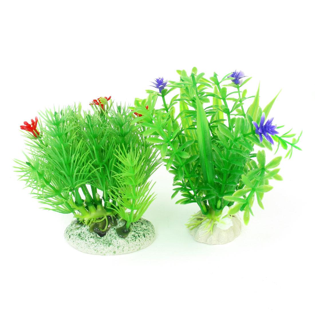 2 Pcs Green Emulational Aquatic Fish Tank Aquarium Grasses Ornament