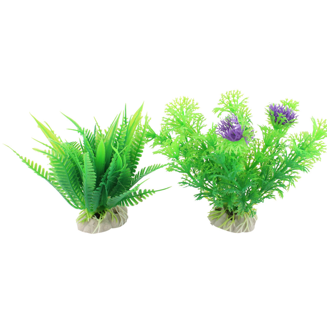 "2 Pcs 3.9"" High Green Artificial Fish Tank Aquarium Plants w Ceramic Base"