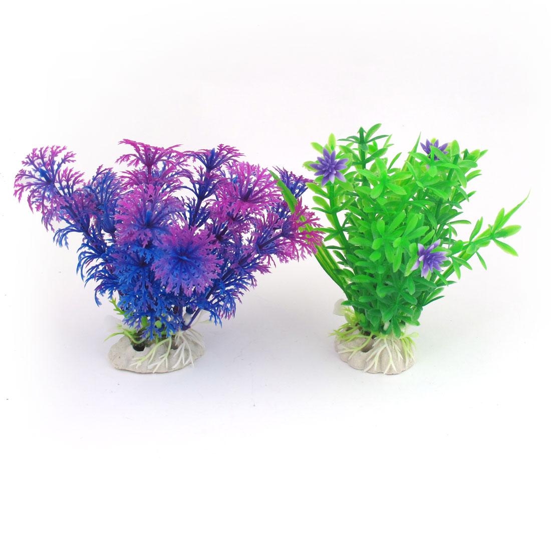 """3.5"""" Green Blue Fuchsia Simulation Aquascaping Aquarium Underwater Plants 2 Pcs"""