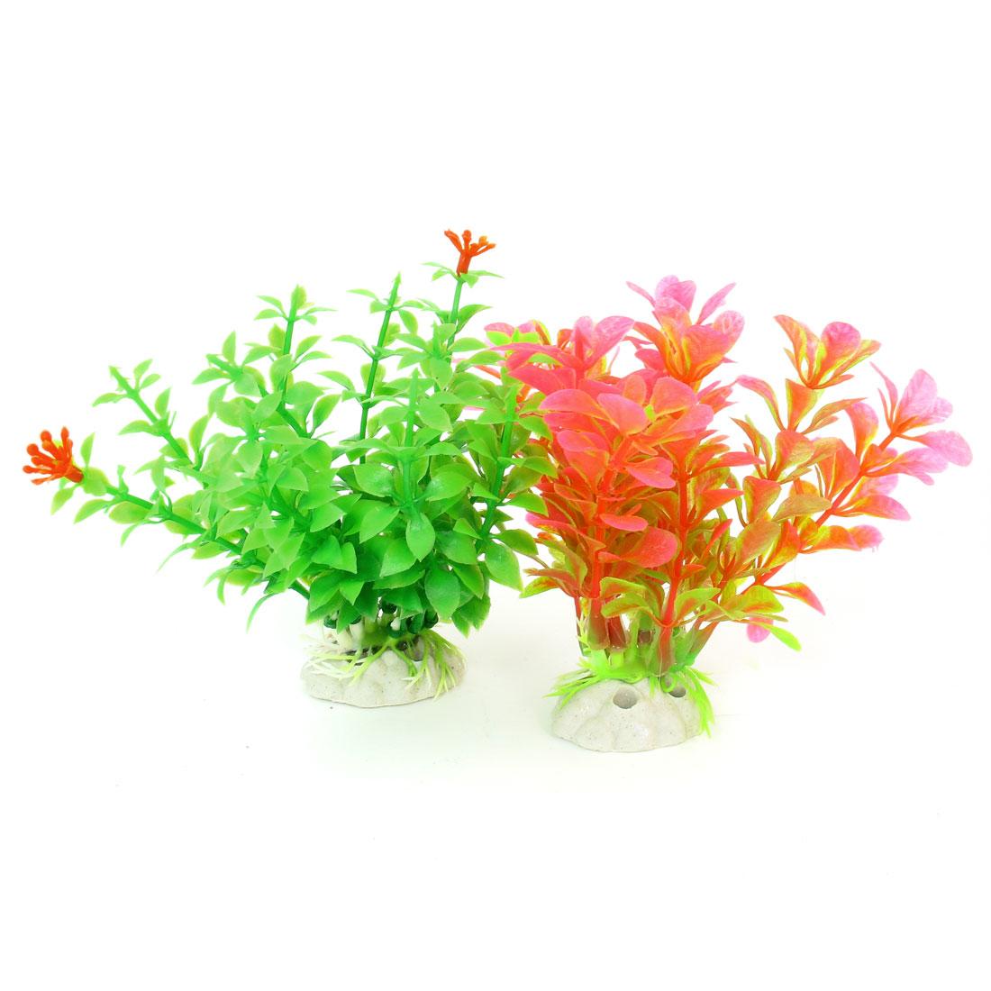 """2 Pcs Green Pink Emulational Fish Tank Aquarium Grasses Decor 4.5"""" High"""